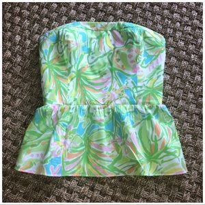 Lilly Pulitzer Shandy Peplum Strapless Top